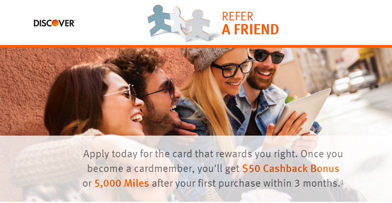 Discover It Students Credit Card ($50 or 5000 Miles Referral Bonus)